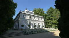 Amazing view of the Little White House in Lazienki Park, Warsaw Stock Footage