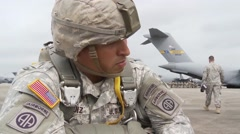 BASE CHARLSTON, MAY 2015, US Air Force Parachute Soldiers Check Equipment - stock footage