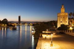 Tower of the gold and Guadalquivir river,  Seville, Andalusia, Spain Stock Photos