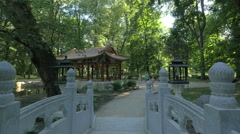 Tourists visiting the Chinese garden in Lazienki Park, Warsaw Stock Footage