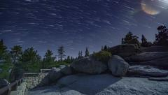 Glacier Point Full Moon Night Timelapse Yosemite National Park Startrails Stock Footage