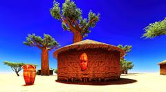African village with traditional huts - stock illustration
