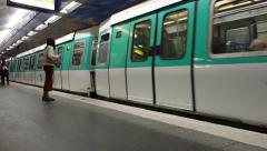Paris Metro train arriving at the Metro Station (Editorial) Stock Footage
