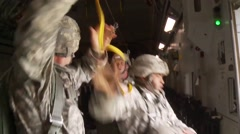 BASE CHARLSTON, MAY 2015, US Air Force Soldiers Jump Out C17 Aircraft - stock footage