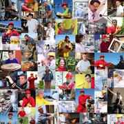 Collage of Diverse People, Workers - stock photo