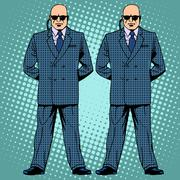 Bodyguards cordon protection secret service agents Stock Illustration
