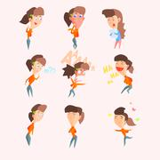 Women Emotions. Vector Illustartion Set in Flat Style - stock illustration