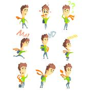 Men Emotions. Vector Illustartion Set in Flat Style Stock Illustration