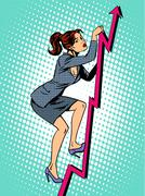 Businesswoman mountaineer schedule of sales - stock illustration