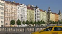 A row of buildings seen from Jirasek bridge in Prague Stock Footage