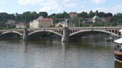 The beautiful Manes Bridge in Prague Stock Footage