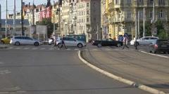 Traffic at a crossroad near Jirasek Bridge in Prague Stock Footage