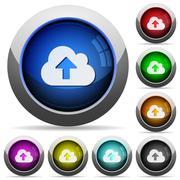 Cloud upload button set Stock Illustration