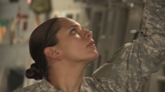BASE CHARLSTON, MAY 2015, US Air Force C17 Aircraft Crew Check Parachute Line Stock Footage