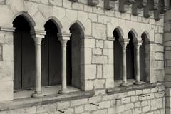 Architecture of Rocamadour, Lot,  Midi-Pyrenees, France - stock photo