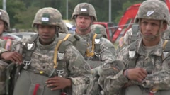 BASE CHARLSTON, MAY 2015, US Air Force Parachute Troopers Walk Along Airfield Stock Footage