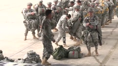 BASE CHARLSTON, MAY 2015, US Air Force Parachute Troopers Check Equipment - stock footage