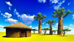 Stock Illustration of African village with traditional huts