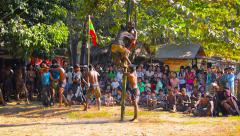Rural residents Myanmar, community celebration with dancing and games Stock Footage
