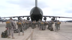 BASE CHARLSTON, MAY 2015, US Air Force Parachute Soldiers Enter C17 Aircraft Stock Footage