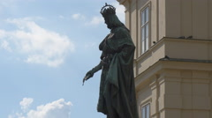 The statue of Charles IV of Bohemia in Prague Stock Footage