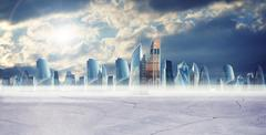 Business cityscape with clouds - stock illustration
