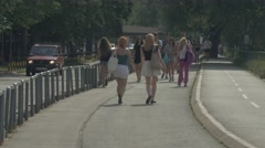 Belgrade people walk in park 4K Stock Footage