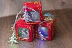 Christmas background - balls, garland and gifts - stock photo