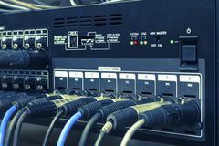 XLR audio patch bay Stock Photos