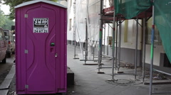 Toilet porto potty on the street for construction workers, Berlin, Germany Stock Footage