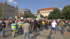 People gathered in Palacky Square in Prague Stock Footage