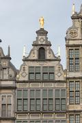 Medieval houses with roof ornaments in Antwerp, Belgium - stock photo