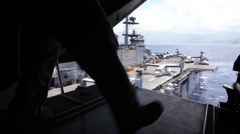 USS EDDEX COAST HAWAII, MAY 2015, US Navy Osprey Aircraft Start Fromm USS Edex Stock Footage