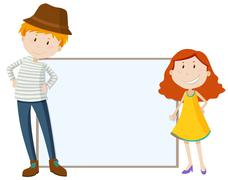 Tall man and short girl by the sign Stock Illustration