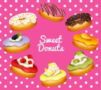 Different flavor of donuts Stock Illustration