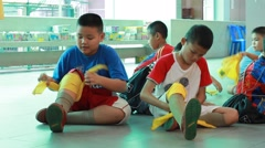 first aid events, Scout Camp in primary school Bangkok Thailand - stock footage