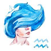 Aquarius horoscope raster Stock Illustration
