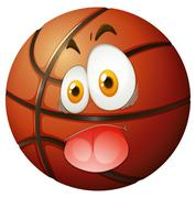 Basketball with silly face Stock Illustration