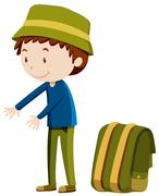 Man standing next to backpack - stock illustration