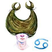 Cancer horoscope raster Stock Illustration
