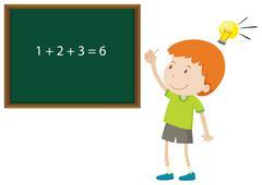 Boy solving math problem Stock Illustration