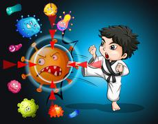 Boy in karate suit kicking bacteria Stock Illustration