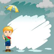 Border design with boy in the rain Stock Illustration
