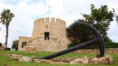 Watchtower on the Spanish Mediterranean coastline, Torrevieja Stock Footage