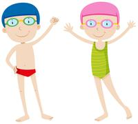 Boy and girl in swimming suit - stock illustration