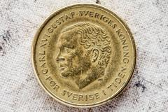 Obverse of ten Swedish kronor - stock photo
