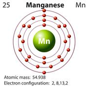 Symbol and electron diagram for Manganese Stock Illustration
