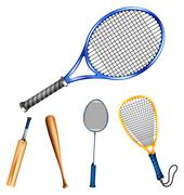 Different sport rackets and bats Stock Illustration