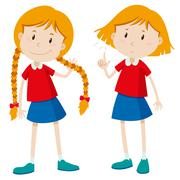 Girls with long hair and short hair - stock illustration