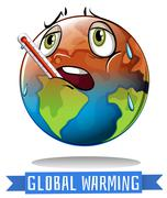 Global warming sign with earth melting - stock illustration